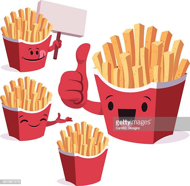 french fries cartoon set c - french fries stock illustrations, clip art, cartoons, & icons