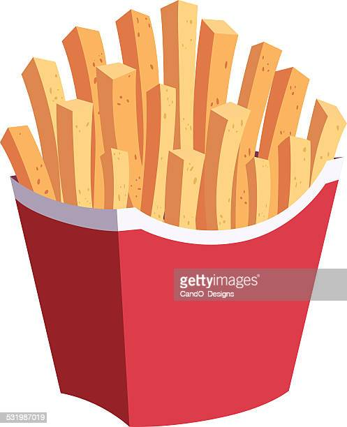 french fries cartoon - french fries stock illustrations, clip art, cartoons, & icons