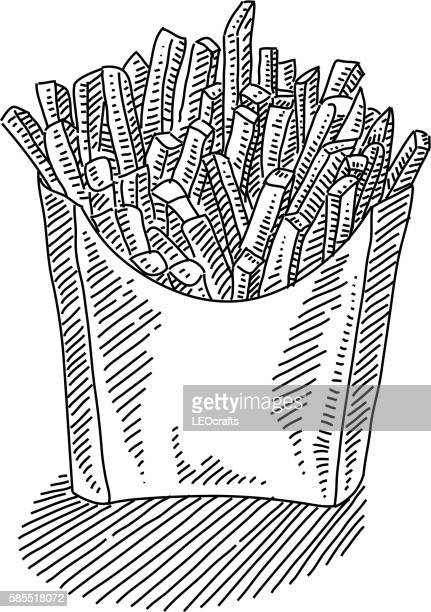 french fries drawing - french fries stock illustrations, clip art, cartoons, & icons