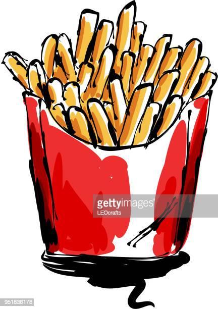 ilustraciones, imágenes clip art, dibujos animados e iconos de stock de papas fritas dibujo - patatas preparadas