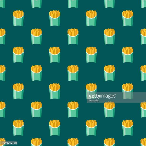 french fries fast food seamless pattern - unhealthy eating stock illustrations