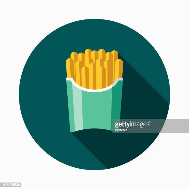 french fries flat design fast food icon - french fries stock illustrations, clip art, cartoons, & icons