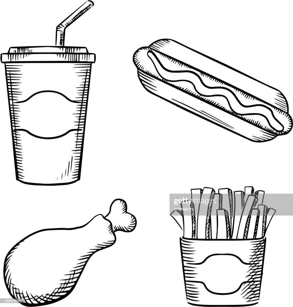 French fries, hot dog, chicken leg ans soda