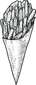 French fries illustration, drawing, engraving, ink, line art, vector
