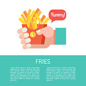 French fries in a red cardboard box. Hot fast food. Vector illustration.