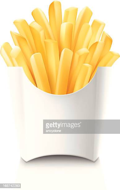 french fries in blank white cardboard container - french fries stock illustrations, clip art, cartoons, & icons