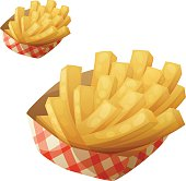 French fries in the paper basket. Detailed vector icon isolated