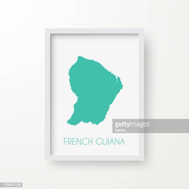 白い背景のフレームでフランス領ギアナマップ - フランス海外領点のイラスト素材/クリップアート素材/マンガ素材/アイコン素材