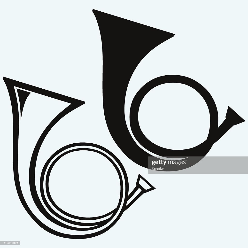 French horn, wind musical instrument