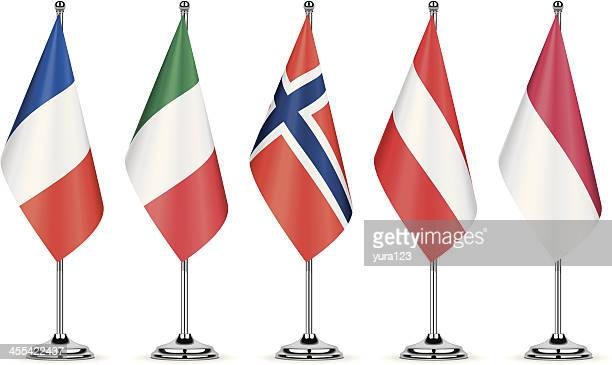 french, italian, norwegian, austrian and polish table flags - pole stock illustrations
