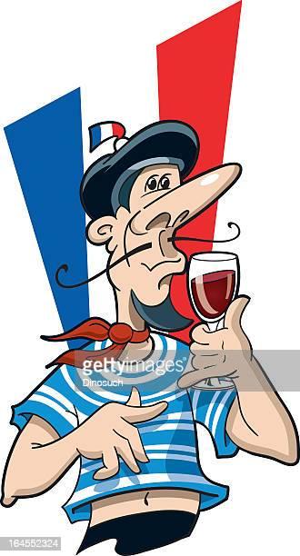 ilustraciones, imágenes clip art, dibujos animados e iconos de stock de francés hombre bebiendo vino tinto - cultura francesa