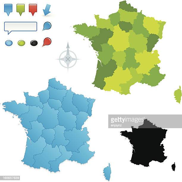 french map with regions - auvergne rhône alpes stock illustrations, clip art, cartoons, & icons