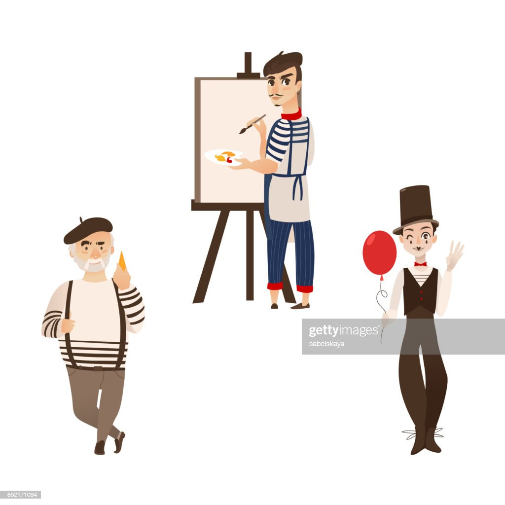 French men, characters - artist, mime and gourmand