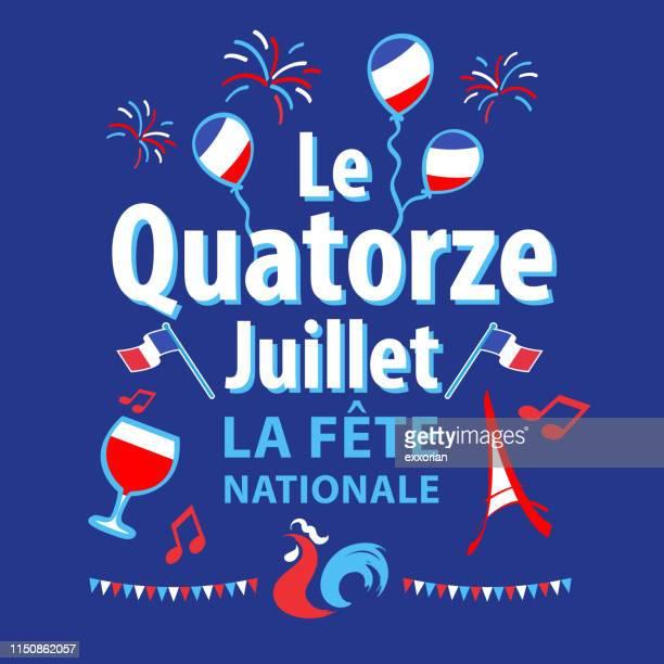 illustrations, cliparts, dessins animés et icônes de célébration de la fête nationale français - drapeau français