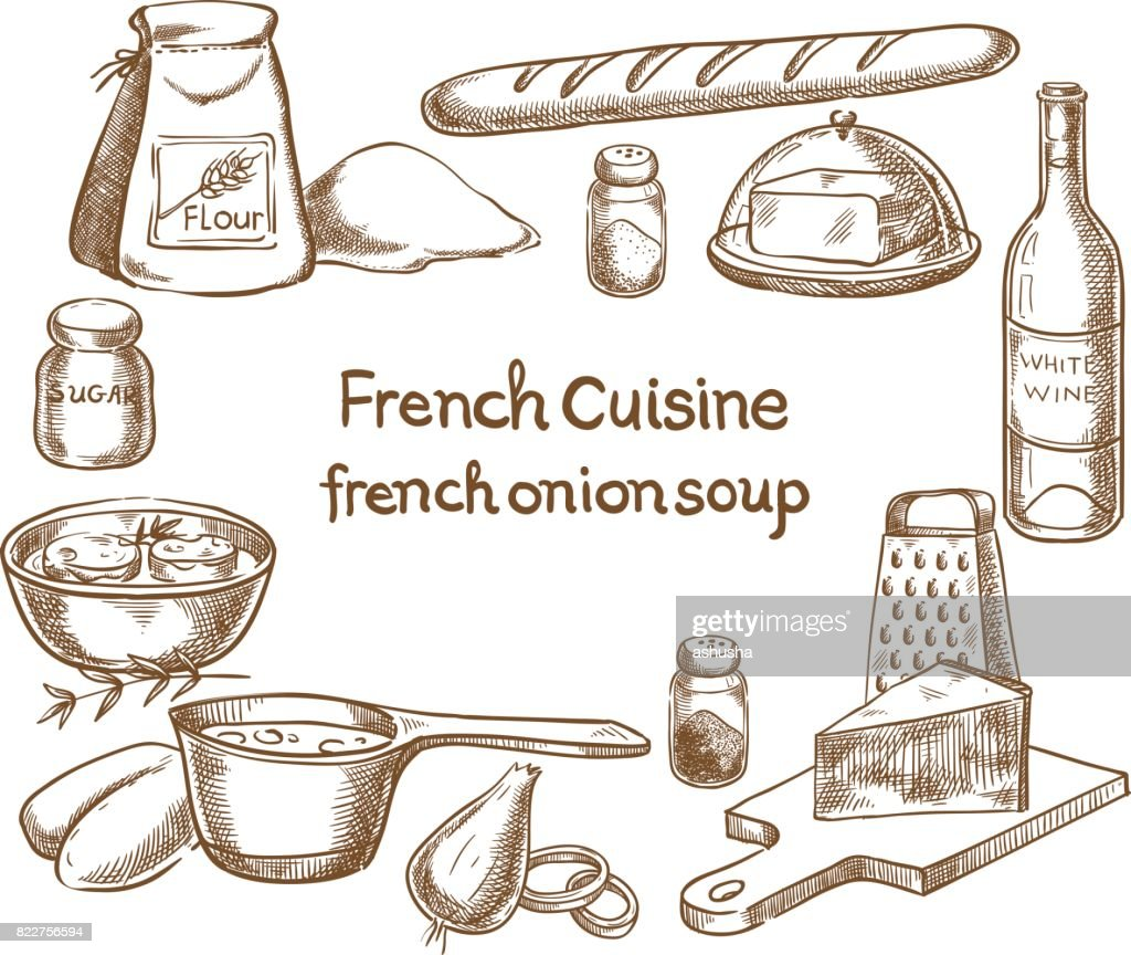 French onion soup, ingredients of the food