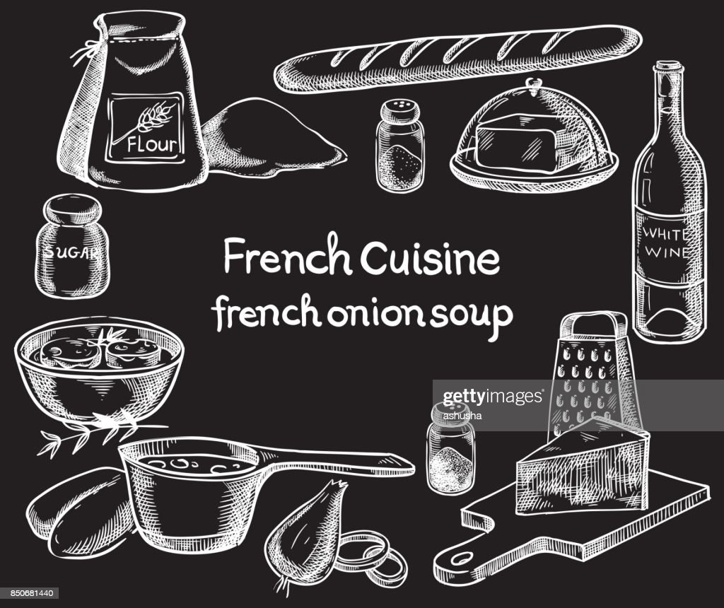 French onion soup, ingredients of the food. Vector sketch
