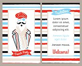 French party vertical invitation, greeting card with man in cap