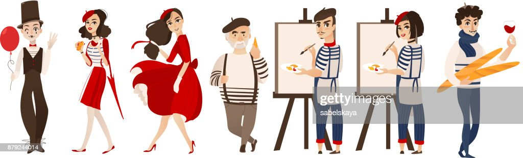 French People Mimes Artists Symbols Of France Vector Art Getty Images