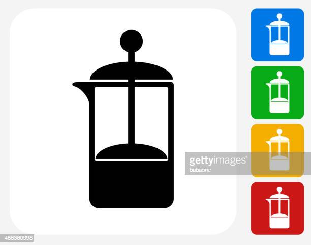 French Press Coffee Maker Icon Flat Graphic Design