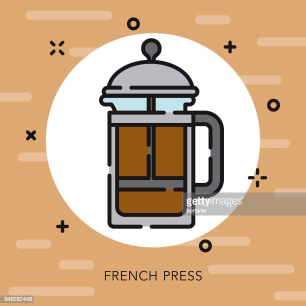 French Press Open Outline Coffee & Tea Icon