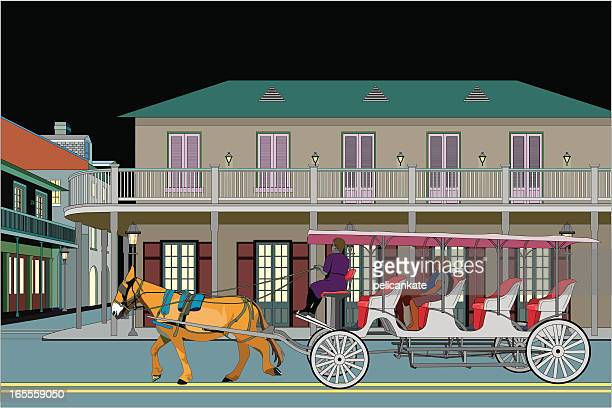 french quarter with carriage at night - new orleans stock illustrations, clip art, cartoons, & icons