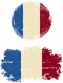 French round and square grunge flags. Vector illustration