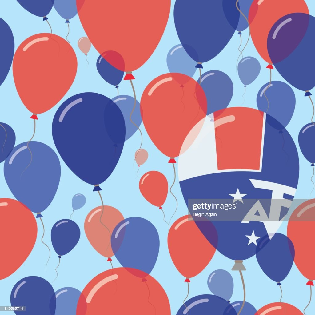 French Southern Territories National Day Flat Seamless Pattern. Flying Celebration Balloons in Colors of French Flag. Happy Independence Day Background with Flags and Balloons.