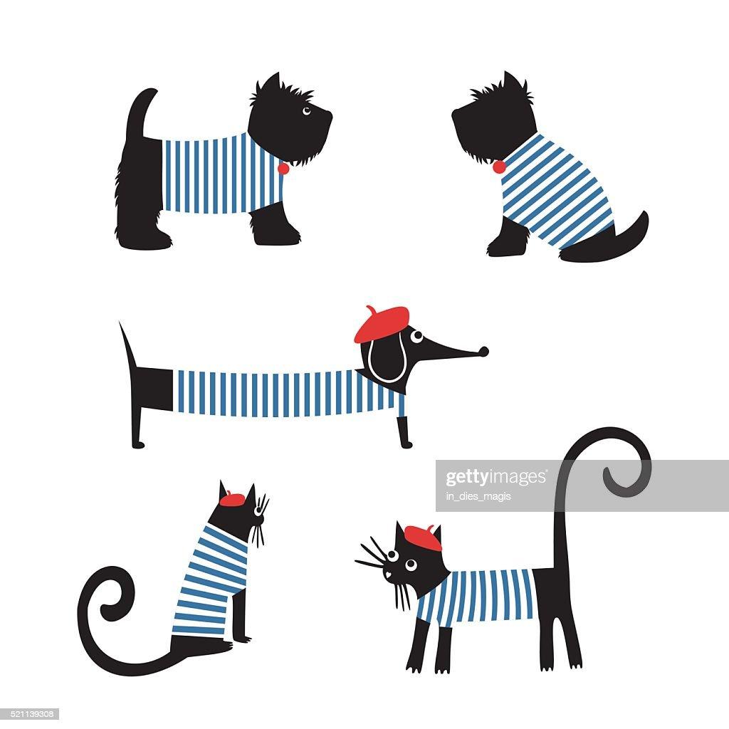 French style animals. Cute cartoon parisian dachshund, cat, scottish terrier.
