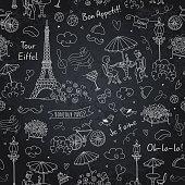 French symbols seamless pattern on chalkboard. Black + white