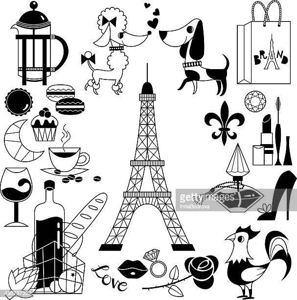 ilustraciones, imágenes clip art, dibujos animados e iconos de stock de francés símbolos - maquillaje para ojos