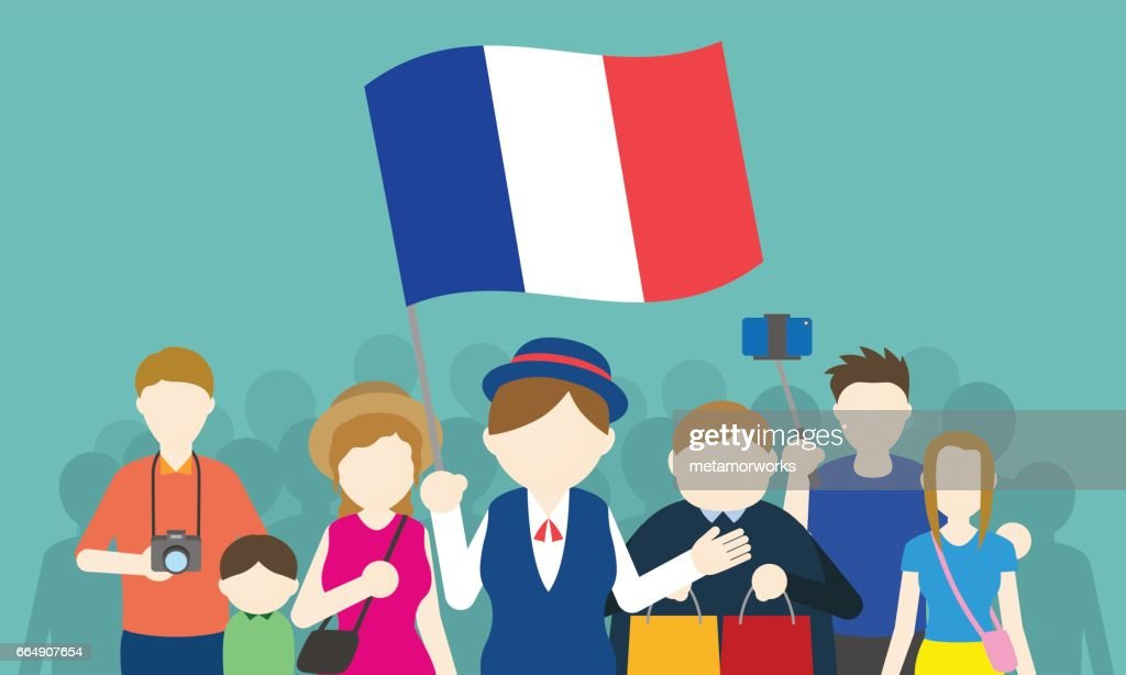 french tourists and tour guide, Inbound tourism, vector illustration