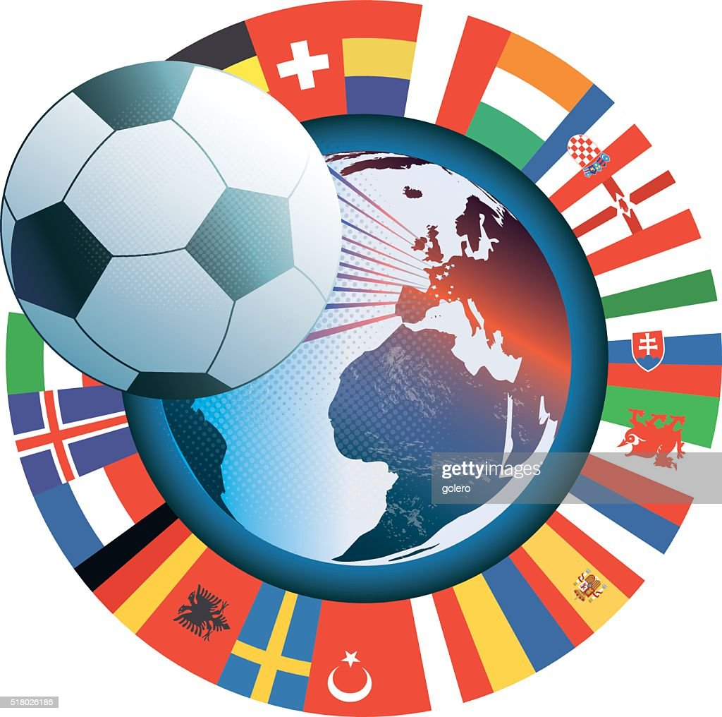 French vector soccer icon with world map and international flags french vector soccer icon with world map and international flags vector art gumiabroncs Image collections