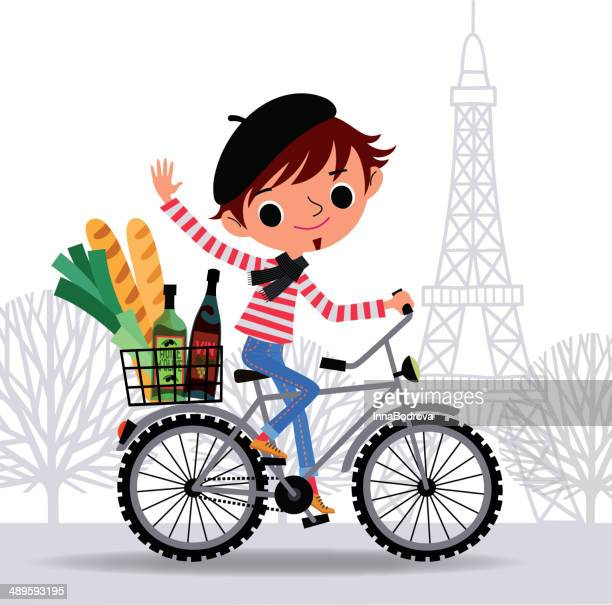 illustrations, cliparts, dessins animés et icônes de frenchman sur un vélo. - baguette de pain