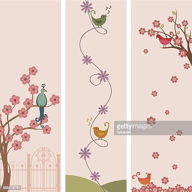 ilustrações de stock, clip art, desenhos animados e ícones de o ar fresco banners pássaro - canto de passarinho