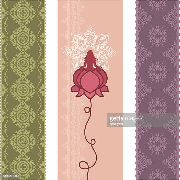 fresh air lotus banners - lotus position stock illustrations, clip art, cartoons, & icons