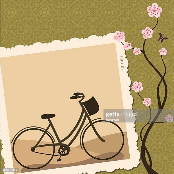frische luft sepia fahrrad - sammelalbum stock-grafiken, -clipart, -cartoons und -symbole