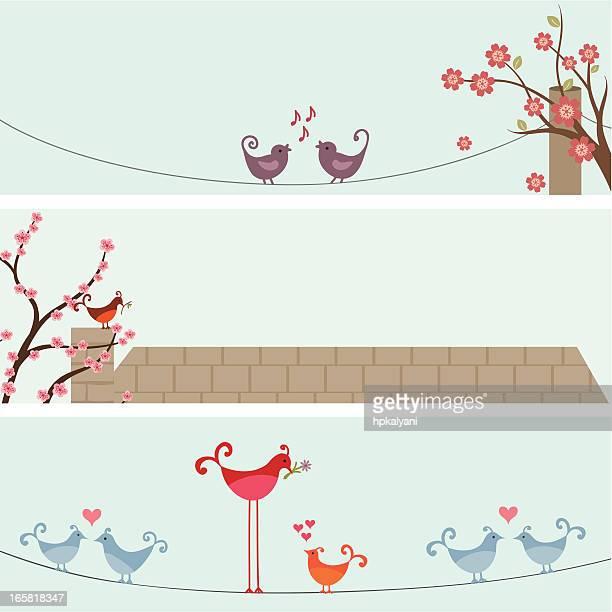 illustrations, cliparts, dessins animés et icônes de air frais bannières de printemps des oiseaux - cerisier japonais