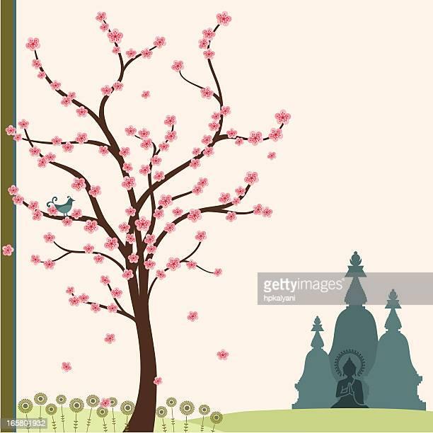 fresh air spring buddha - stupa stock illustrations