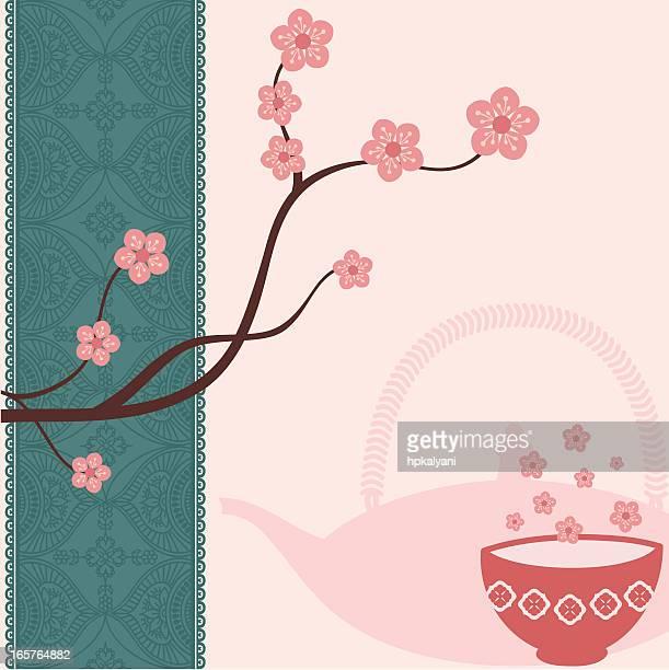 fresh air tea blossoms - green tea stock illustrations, clip art, cartoons, & icons