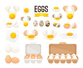 Fresh and boiled eggs