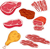 Fresh and cooked meat products for barbecue design