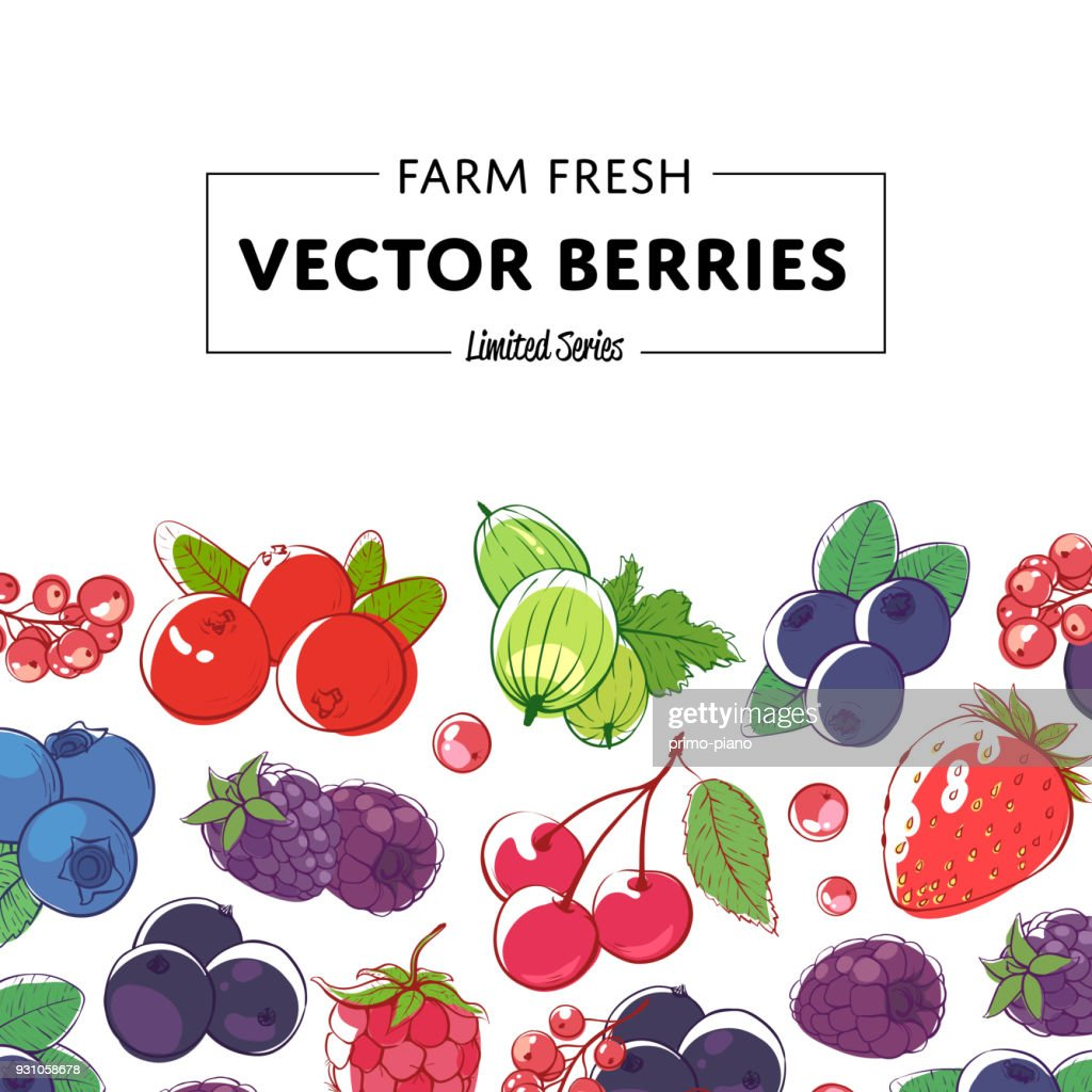 Fresh and juicy berries retail poster