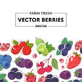 Fresh and juicy berries retail poster