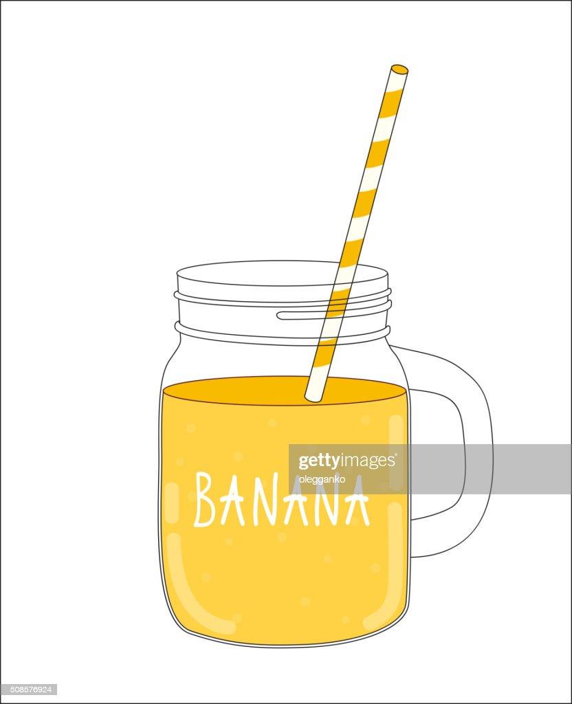 Fresh Banana Smoothie. Healthy Food. Vector Illustration : Vector Art