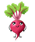Fresh beet with leaf and smile face vegetable with eyes mouth hands and legs cartoon style vector illustration isolated on white background website page and mobile app design
