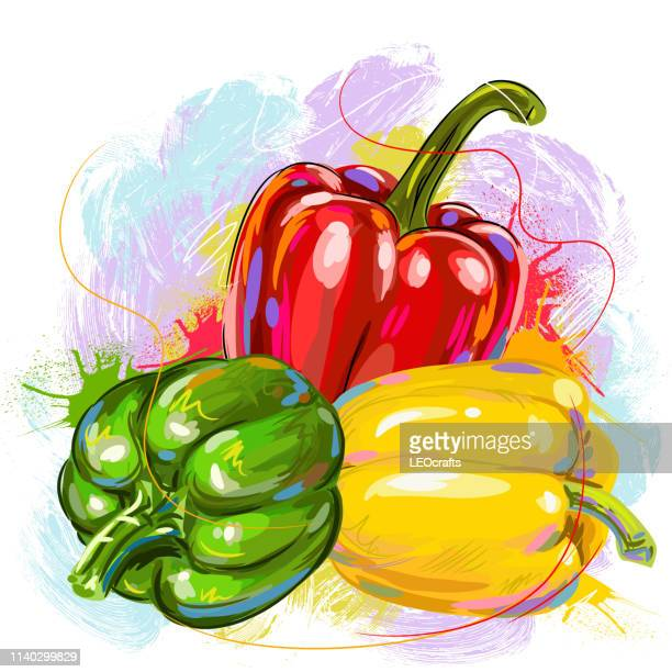 fresh bell peppers drawing - bell pepper stock illustrations, clip art, cartoons, & icons