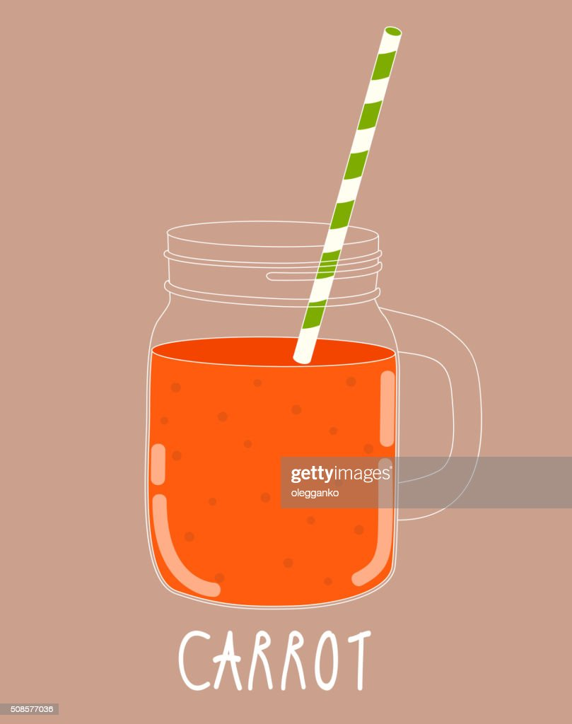 Fresh Carrot Smoothie. Healthy Food. Vector Illustration : Vector Art