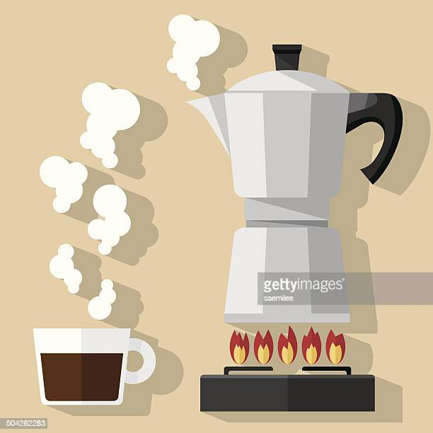 ilustrações, clipart, desenhos animados e ícones de café fresco - vapor forma da água