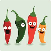 Fresh colorful hot chili pepper characters