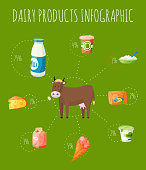 Fresh dairy products infographic banner, poster vector illustration. Organic, quality food. Great taste and nutritional value. Milk, cheese, yogurt and cow cottage cheese, sour cream, butter.